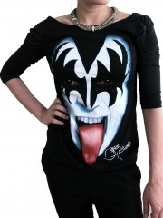 Kiss Hard Punk Rock  DIY Princess Sleeve Boat neck Tee Top Shirt