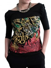 Lamb Of God  LOG Metal Punk Rock DIY Princess Sleeve Boat neck Tee Top Shirt