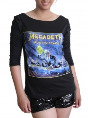Megadeth Heavy Metal Rock DIY Princess Sleeve Boat neck Tee Top Shirt