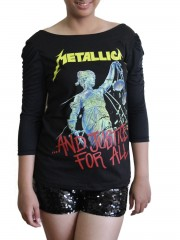 Metallica Metal Rock DIY Princess Sleeve Boat neck Tee Top Shirt