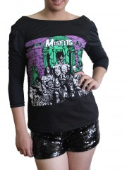 Misfits Horror Punk Metal Rock DIY Princess Sleeve Boat neck Tee Top Shirt