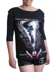 Marilyn Manson MM Metal Rock  DIY Princess Sleeve Boat neck Tee Top Shirt