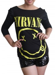 Nirvana Kurt Cobain Grunge Rock DIY Princess Sleeve Boat neck Tee Top Shirt