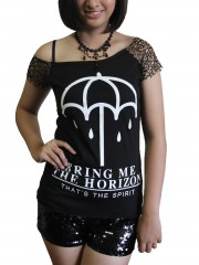 Bring Me The Horizon Metal Rock DIY Raw Edge Nest Lace Off Shoulder Top