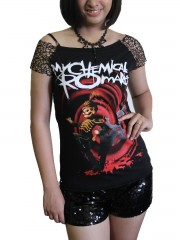 My Chemical Romance Metal Rock DIY Raw Edge Nest Lace Off Shoulder Top