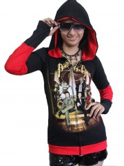 Panic Hard Metal Rock DIY Funky Zip Hoodie Jacket Top Shirt