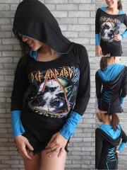 Def Leppard Heavy Rock DIY Funky Corset Hoodie Top Shirt