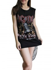 AC/DC Metal Rock DIY Womens Singlet Lace Back Tunic Top T-shirt