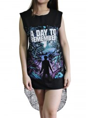 A Day To Remember Metal Rock DIY Womens Singlet Lace Back Tunic Top T-shirt