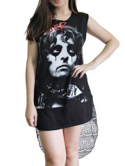 Alice Cooper Metal Rock DIY Womens Singlet Lace Back Tunic Top T-shirt