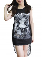 Black Veil Brides Metal Rock DIY Womens Singlet Lace Back Tunic Top T-shirt