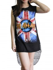 Def Leppard Metal Rock DIY Womens Singlet Lace Back Tunic Top T-shirt