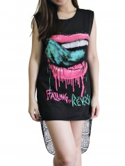 Falling In Reverse Metal Rock DIY Womens Singlet Lace Back Tunic Top T-shirt