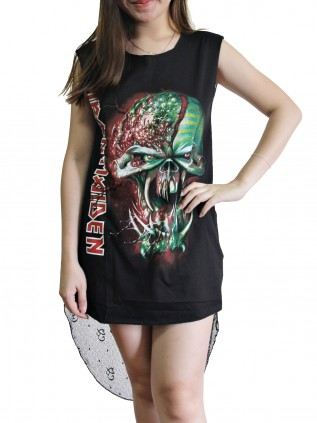Iron Maiden Metal Rock DIY Womens Singlet Lace Back Tunic Top T-shirt