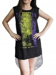 Led Zeppelin Metal Rock DIY Womens Singlet Lace Back Tunic Top T-shirt