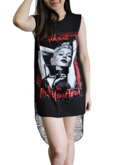 Madonna Metal Rock DIY Womens Singlet Lace Back Tunic Top T-shirt