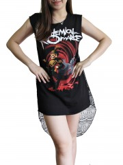 My Chemical Romance Metal Rock DIY Womens Singlet Lace Back Tunic Top T-shirt