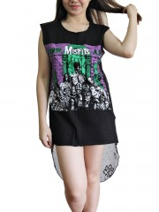 Misfits Metal Rock DIY Womens Singlet Lace Back Tunic Top T-shirt