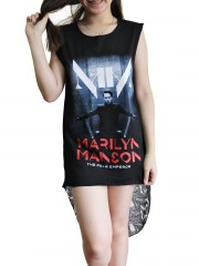 Marilyn Manson Metal Rock DIY Womens Singlet Lace Back Tunic Top T-shirt