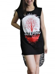 Sleeping With Sirens Metal Rock DIY Womens Singlet Lace Back Tunic Top T-shirt