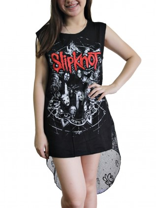 Slipknot Metal Rock DIY Womens Singlet Lace Back Tunic Top T-shirt