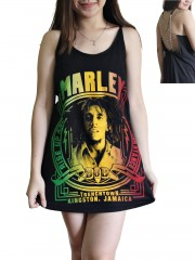 Bob Marley Metal Rock Band DIY Pentagram Chain Back Tank Top Tunic