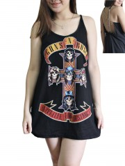 Guns N' Roses Metal Rock Band DIY Pentagram Chain Back Tank Top Tunic
