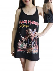 Iron Maiden Metal Rock Band DIY Pentagram Chain Back Tank Top Tunic