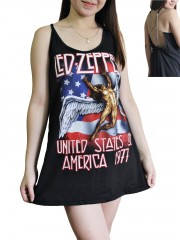 Led Zeppelin Metal Rock Band DIY Pentagram Chain Back Tank Top Tunic