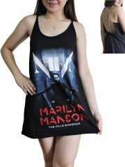 Marilyn Manson Metal Rock Band DIY Pentagram Chain Back Tank Top Tunic