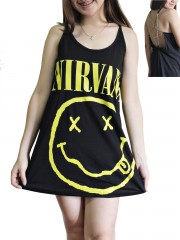 Nirvana Metal Rock Band DIY Pentagram Chain Back Tank Top Tunic