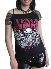 Avenged Sevenfold Metal Rock DIY Raw Edge Nest Lace Off Shoulder Top