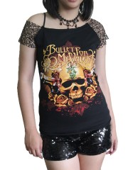 Bullet For My Valentine Metal Rock DIY Raw Edge Nest Lace Off Shoulder Top