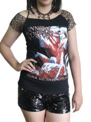 Cannibal Corpse Metal Rock DIY Raw Edge Nest Lace Off Shoulder Top