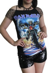 Iron Maiden Metal Rock DIY Raw Edge Nest Lace Off Shoulder Top
