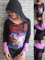 Death Metal Rock DIY Funky Corset Hoodie Top Shirt