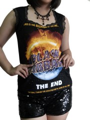 Black Sabbath Metal Rock DIY Gothic Pentagon Neckline Tee Top T-Shirt