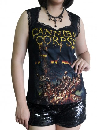 Cannibal Corpse  Metal Rock DIY Gothic Pentagon Neckline Tee Top T-Shirt