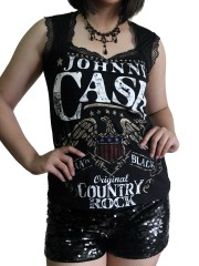Johnny Cash  Metal Rock DIY Gothic Pentagon Neckline Tee Top T-Shirt