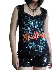 Def Leppard Metal Rock DIY Gothic Pentagon Neckline Tee Top T-Shirt