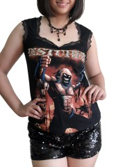 Disturbed  Metal Rock DIY Gothic Pentagon Neckline Tee Top T-Shirt