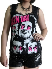 Green Day Metal Rock DIY Gothic Pentagon Neckline Tee Top T-Shirt