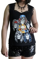Guns N' Roses Metal Rock DIY Gothic Pentagon Neckline Tee Top T-Shirt