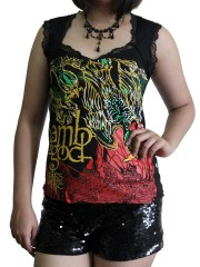 Lamb Of God Metal Rock DIY Gothic Pentagon Neckline Tee Top T-Shirt