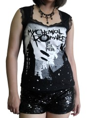My Chemical Romance Metal Rock DIY Gothic Pentagon Neckline Tee Top T-Shirt