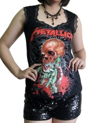 Metallica Metal Rock DIY Gothic Pentagon Neckline Tee Top T-Shirt