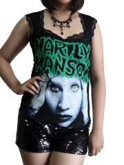 Marilyn Manson Metal Rock DIY Gothic Pentagon Neckline Tee Top T-Shirt
