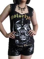 Motorhead Metal Rock DIY Gothic Pentagon Neckline Tee Top T-Shirt